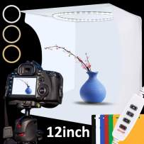Photo Studio Light Box Kit, 12inch x 12inch Photography Adjustable Light Box with 80pcs SMD LED Beads, Portable Photo Shooting Tent with White Light Warm Light and 6 Color Background