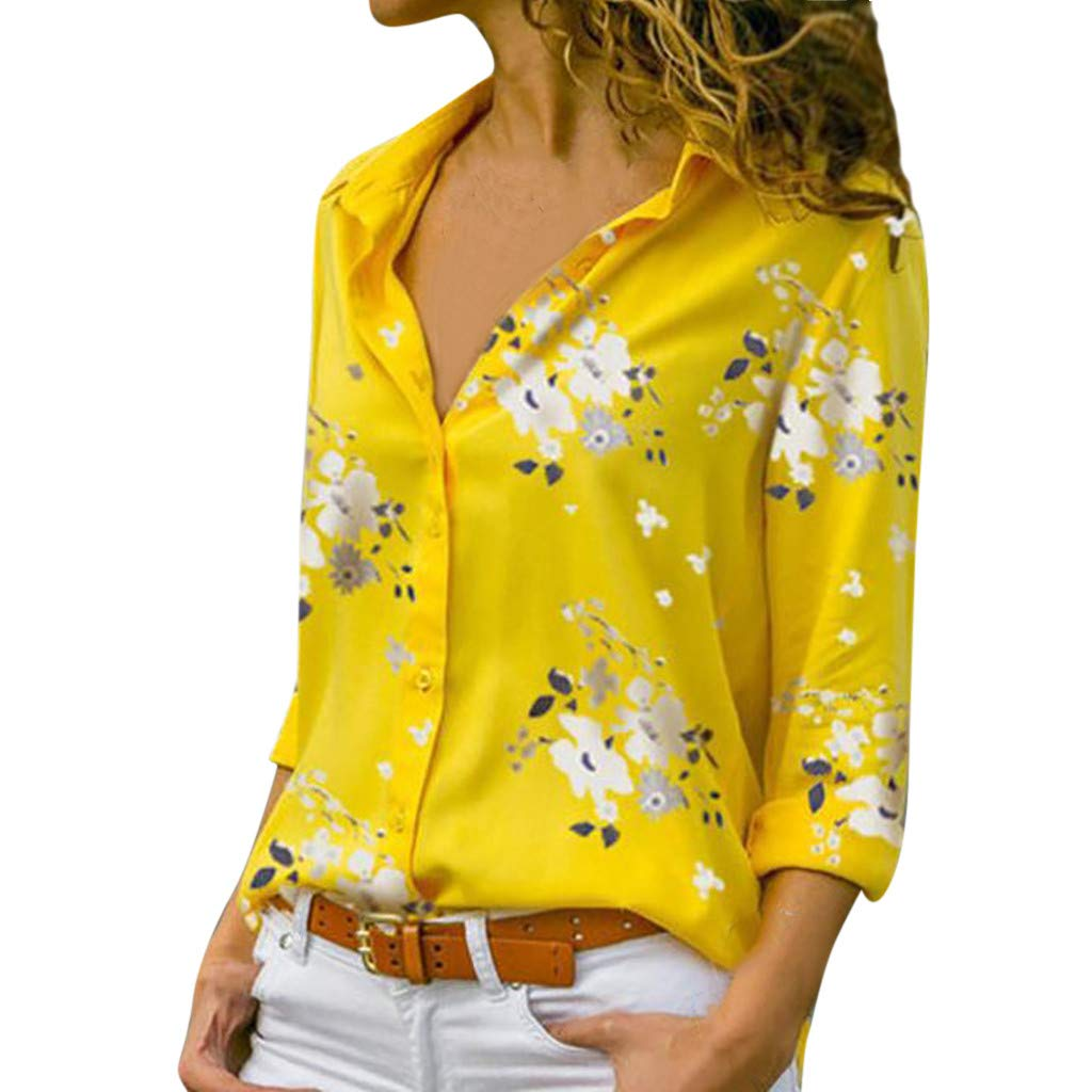 foreverH Women's V Neck Mesh Panel Blouse 3/4 Bell Sleeve Loose Top Shirt Button Blouse Pullover Tops Shirt