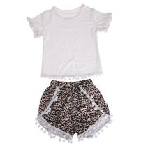 itkidboy Toddler Baby Girls Summer Black Mesh Shrit + Leopard Skirt 2pcs Clothes Set