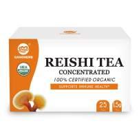 GANOHERB USDA Organic Reishi Mushroom Concentrated Tea - Reishi Fruiting Body+Extract Powder Super Mix - Boost Immune System-Vegan, Paleo, Gluten Free,No Sugar,100% Natural,0.05 Ounce ( 25 count) …