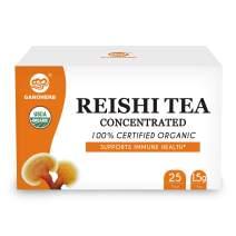 GANOHERB USDA Organic Reishi Mushroom Concentrated Tea - Reishi Fruiting Body+Extract Powder Super Mix - Boost Immune System-Vegan, Paleo, Gluten Free,No Sugar,100% Natural,0.05 Ounce ( 25 Count)