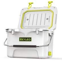 REYLEO Camping Cooler, 21 Quart 3-Day Ice Retention, Portable Rotomolded Cooler, 30-Can Capacity Ice Chest, with Built-in Bottle Opener, Cup Holder,Fish Ruler (White)