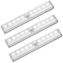 AMIR Upgraded Motion Sensor Light, 10-LED Battery Operated Wireless Closet Light, Stick Up Motion Nightlight for Hallway, Stairway, Bedroom (White, Pack of 3)