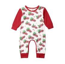 Fiomva US 1st Christmas Unisex Infant Baby Girl Boy Long Sleeve Deer Romper Jumpsuit Pajamas Xmas Outfit