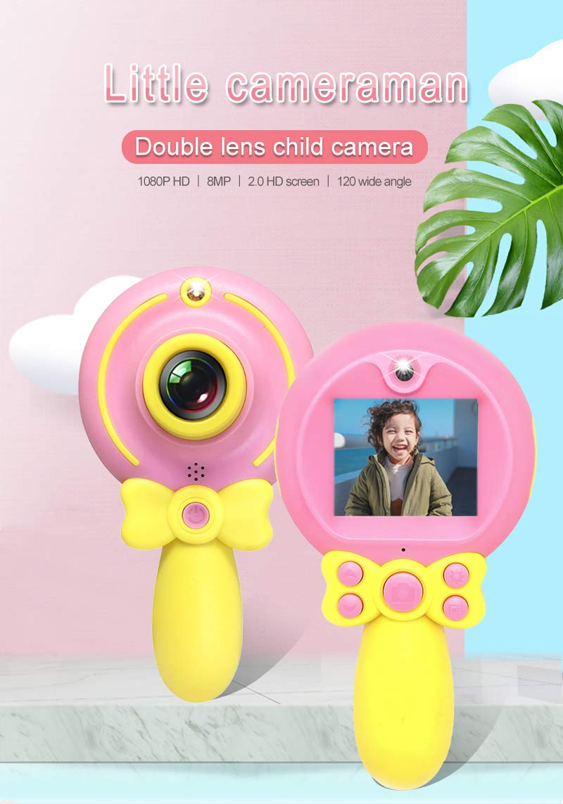 Lollipop Kids Camera Toys for 3-8 Year Old Little Girls - Best Brithday Festival Gift for Childrens, Mini Size Easy to Handle, Friendly Menu for Toddlers to Understanding - 16 GB Memory Card - Pink