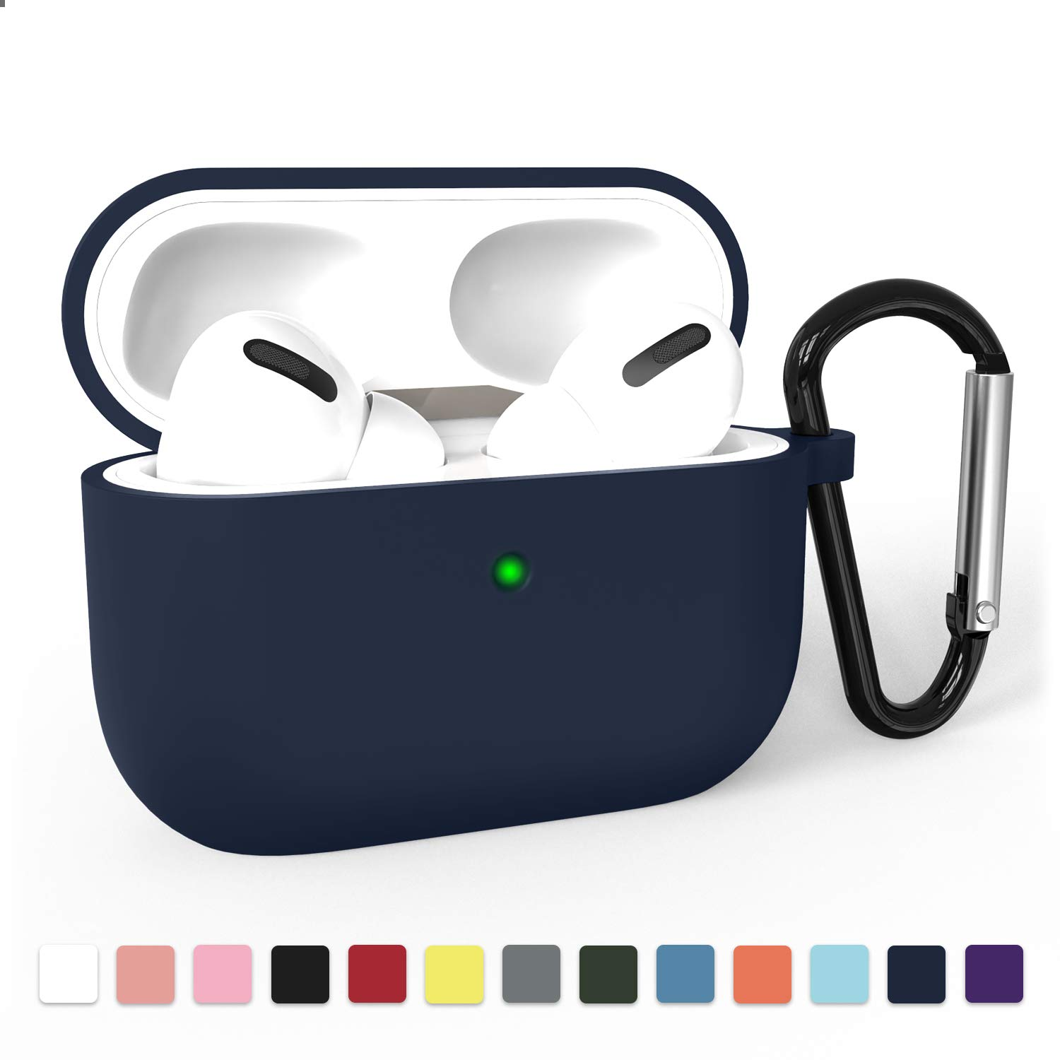 Airpods Pro Case Cover, Adepoy Soft Silicone Shockproof Protective Cover with Keychain Case Compatible for Airpods Pro 2019 [Front LED Visible], Navy