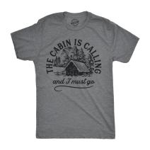 Mens The Cabin is Calling and I Must Go T Shirt Happy Camper Graphic Camping
