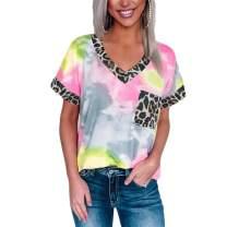Tie Dye Shirt for Women Leopard Print V Neck Gradient T-Shirt Short Sleeve Rainbow Patchwork Summer Casual Tee Tops