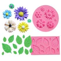 BAKHUK 2pcs Flower Fondant Candy Mold, Daisy and Leaves Collection Silicone Fondant Mold for Chocolate, Sugercraft Cake Decoration Kit, Polymer Clay, Soap Wax Making Craft Set