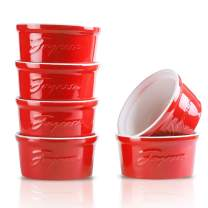 Joyroom 8 Oz Porcelain Ramekins, Souffle Dish Ramekins, Creme Brulee Ramekins Bowls for Baking, Pudding, Letter Collection Set of 6 (8 oz, Red)