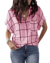 Womens V Neck Stripes Shirts Short Plaid Cuffed Sleeve Blouses Summer Loose Casual with Pockets