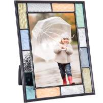 J Devlin Pic 412 Series Stained Glass Picture Frame Pastel Blue Green Peach Aqua - Available in 4x6 or 5x7 (4x6)