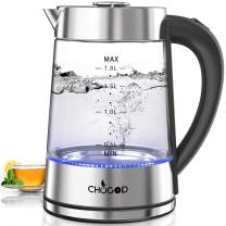 CHUGOD Electric Kettle Glass Tea Kettle - 1500W 1.8L Large Capacity with LED Light, Stainless Steel Hot Water Kettle, Auto Shut-Off and Boil-Dry Protection