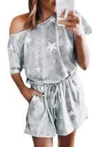 Viottiset Women Tie Dye Print Short Sleeve Drawstring Shorts Pocket Outfit Jumpsuit Romper