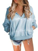 BLENCOT Women's Tie Dye Hoodies V Neck Drawstring Loose Fit Pullover Sweatshirt Tops with Pockets