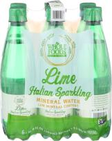 Whole Foods Market, Lime Sparkling Mineral Water, 16.9 Fl Oz, 6 Count