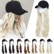 Baseball Cap with Hair Extensions Baseball Hat with Hair Attached Synthetic Hair Wig Cap Long Wavy Adjustable Wave Hairpiece Natural Cap Wig With Magic Paste for Women 290g #613 platinum blonde