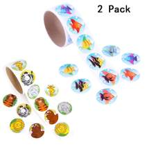 Kabvry Colored Animal,Tropical Fish,Children Kids Stickers Roll for Kids Party Favor,Girl Boy Birthday Gift,Teachers, Game Prizes,Novelty Toys(2 Roll of 200 Stickers)