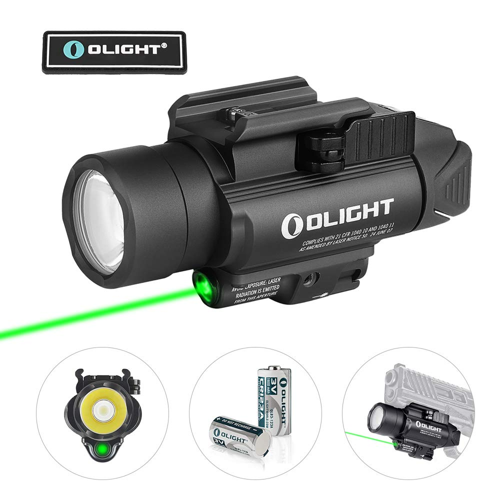 OLIGHT Baldr Pro 1350 Lumens Tactical Weaponlight with Green Beam, 260 Meters Beam Distance Compatible with 1913 or Glock Rail, Powered by 2 x CR123A Batteries