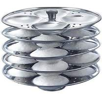 Tabakh Stainless Steel 5-Rack Idli Stand, Medium, Silver