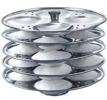 Tabakh Stainless Steel 5-Rack Idli Stand, Medium, Silver