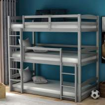 Low Bunk Beds for Kids and Toddlers, Wood Bunk Beds No Box Spring Needed (Gray Triple Bunk Beds)