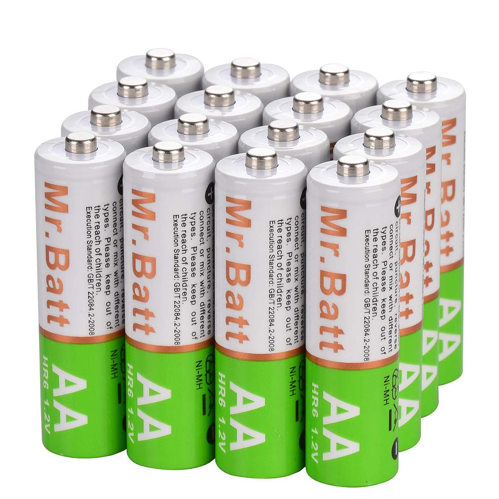 Mr.Batt NiMH Rechargeable AA Batteries 1600mAh, Pre-Charged 16 Pack