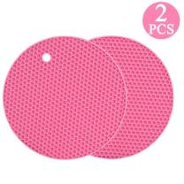 Silicone Trivet Mats, Silicone Mat for Hot Pots and Pads, Multipurpose Hot Pot Holders, Heat Resistant Counter Mats for Hot Dishes, Countertops, Drying Mats, Spoon Rest and Large Coasters 2 Pcs, Pink