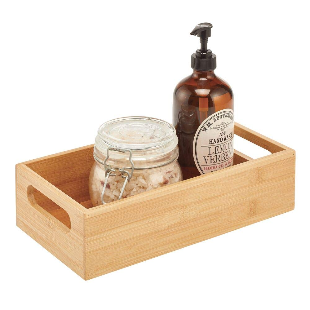 mDesign Deep Bamboo Wood Storage Bin with Handles for Organizing Hand Soaps, Body Wash, Shampoos, Lotion, Conditioners, Hand Towels, Hair Accessories, Body Spray, Mouthwash - Natural/Tan