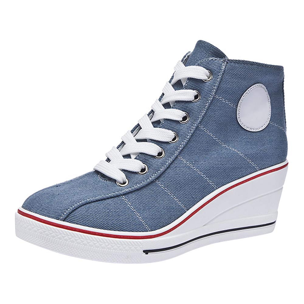 OCHENTA Women's Canvas Wedge High Heel Lace up Fashion Sneakers Shoes