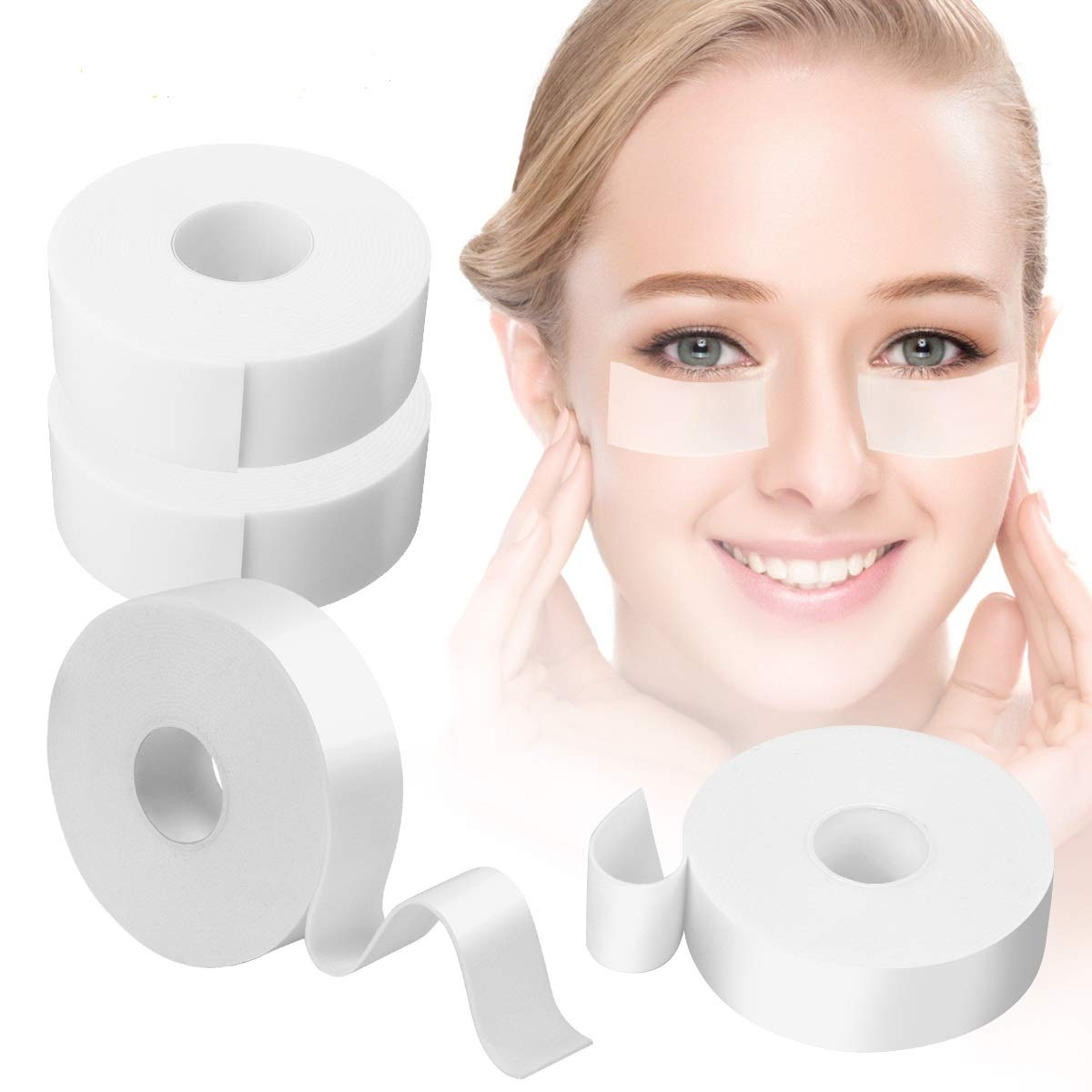 XREXS Eyelash Extension Tape, 4 Rolls Medical Foam Lash Tape Lint Free Eyelash Extension Supplies Lash Pads for Sensitive Skin 1 inch x 5.5 yd