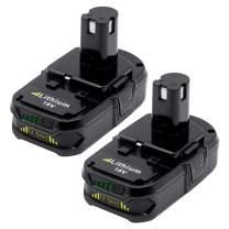 KINGTIANLE Replacement for Ryobi 18V Lithium Battery 2.5Ah ONE+ Plus P102 P103 P104 P105 P107 P108 P109 P122 Cordless Power Tools 2-Pack