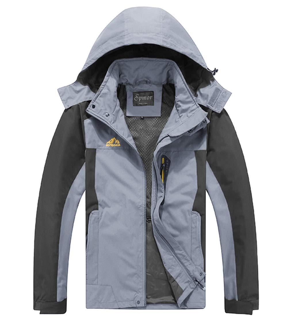 Spmor Men's Outdoor Sports Hooded Windproof Jacket Waterproof Rain Coat