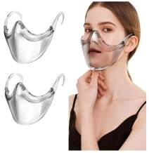 2 Pack Clarity Face_Shield for Adult - Andees Anti-Fog Clarity Face_Masks Reusable Clear Face_Mask Transparent,All Clear Face Bandana Comfortable Breathable,Visible Expression for Men Women