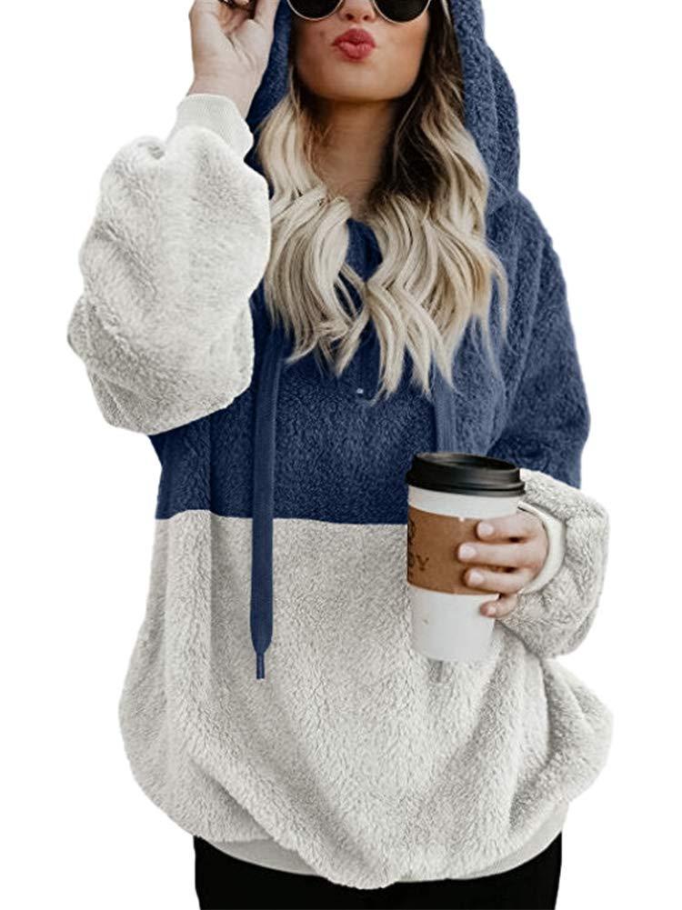 SCORP Women's Long Sleeve Fuzzy Fleece Sweatshirt Casual Loose Outwear Hoodie Coat with Pockets S-XXXL