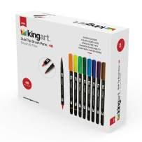 KingArt 445-48 PRO Dual TIP Brush PENS, Set of 48, Unique Colors 48 Piece