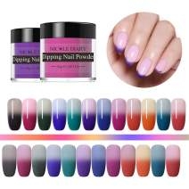 NICOLE DIARY Thermal Dipping Nail Powder Kit Color Changing Dip Nail Glitter Pigment No UV Lamp Cure Quick DIY Decor Tool 10g (12 colors)