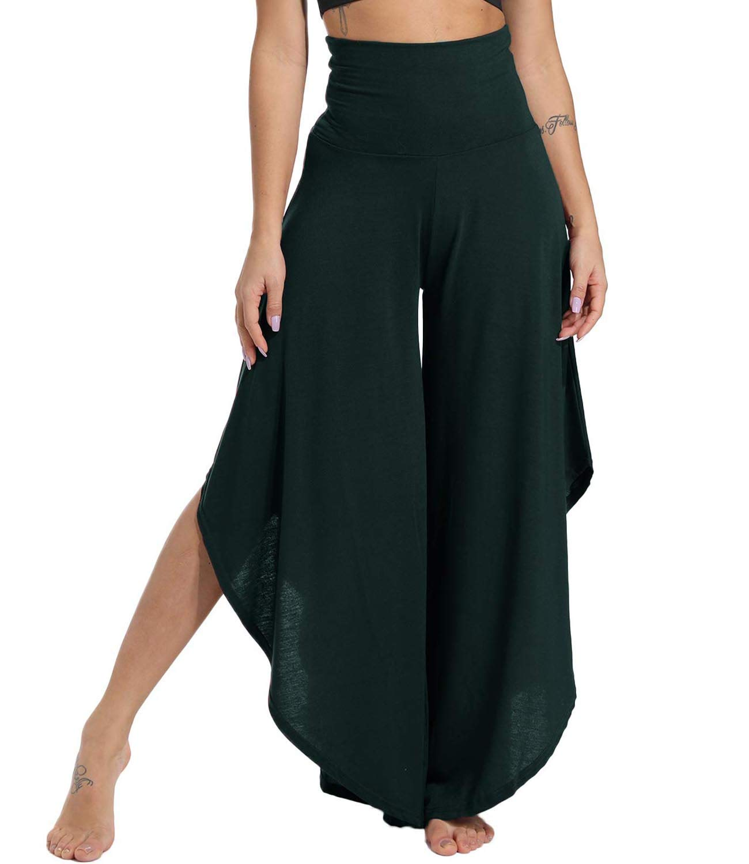 KIWI RATA Women's Elegant Palazzo Split Flared Skirt Bootleg Pants Boho Wide Leg High Waist Loose Trousers