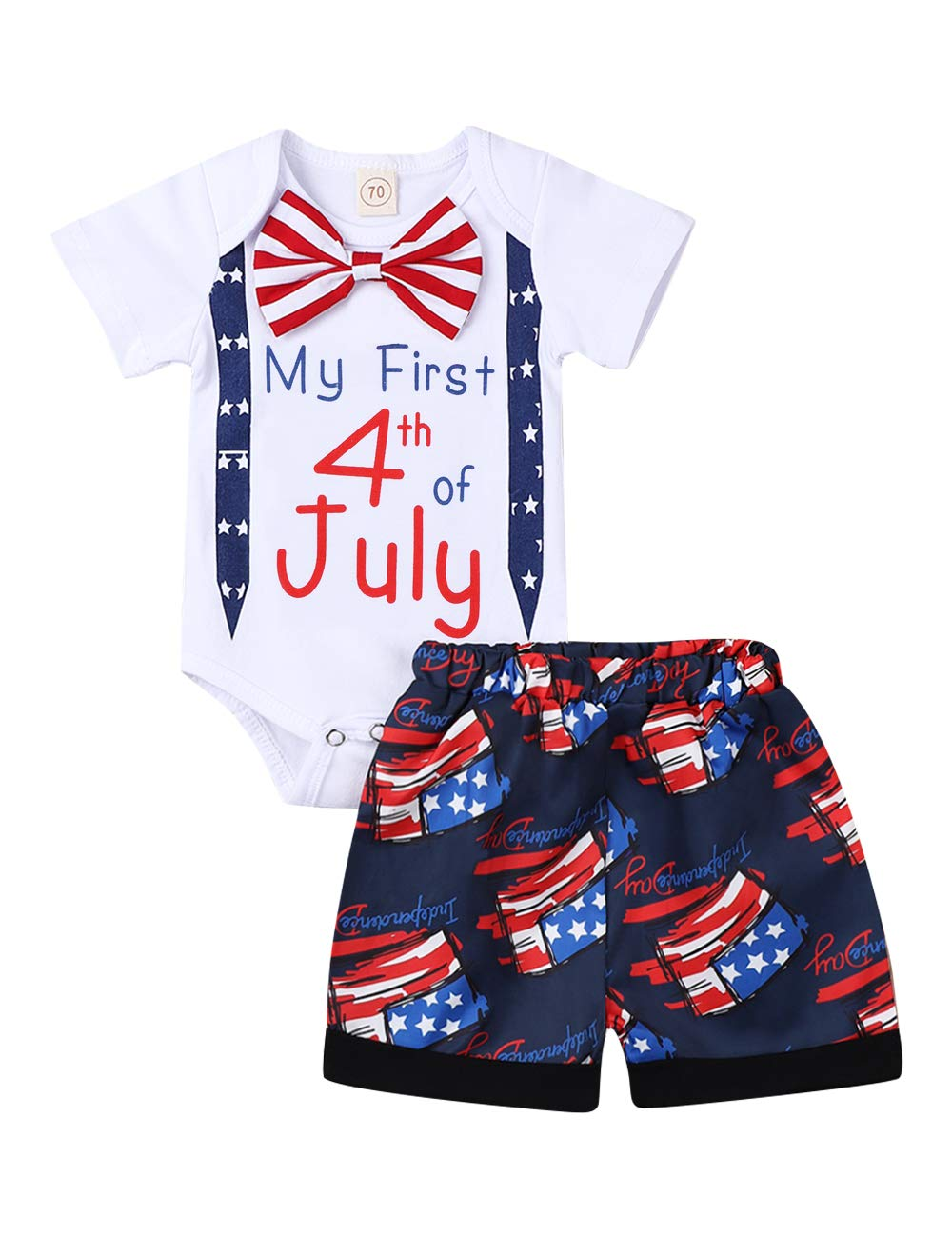 Xinlykid Happy My First 4th of July Baby Boy Girl Outfits Bodysuit Romper+American Flag Stars Stripes Shorts Pant Clothes