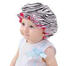 Sent Hair Kids Satin Bonnet Sleeping Cap Adjustable Sleep Bonnet with Drawstring Reversible Night Caps for Kids Child Baby Toddler Double Layer Zebra Pattern/Rose Red