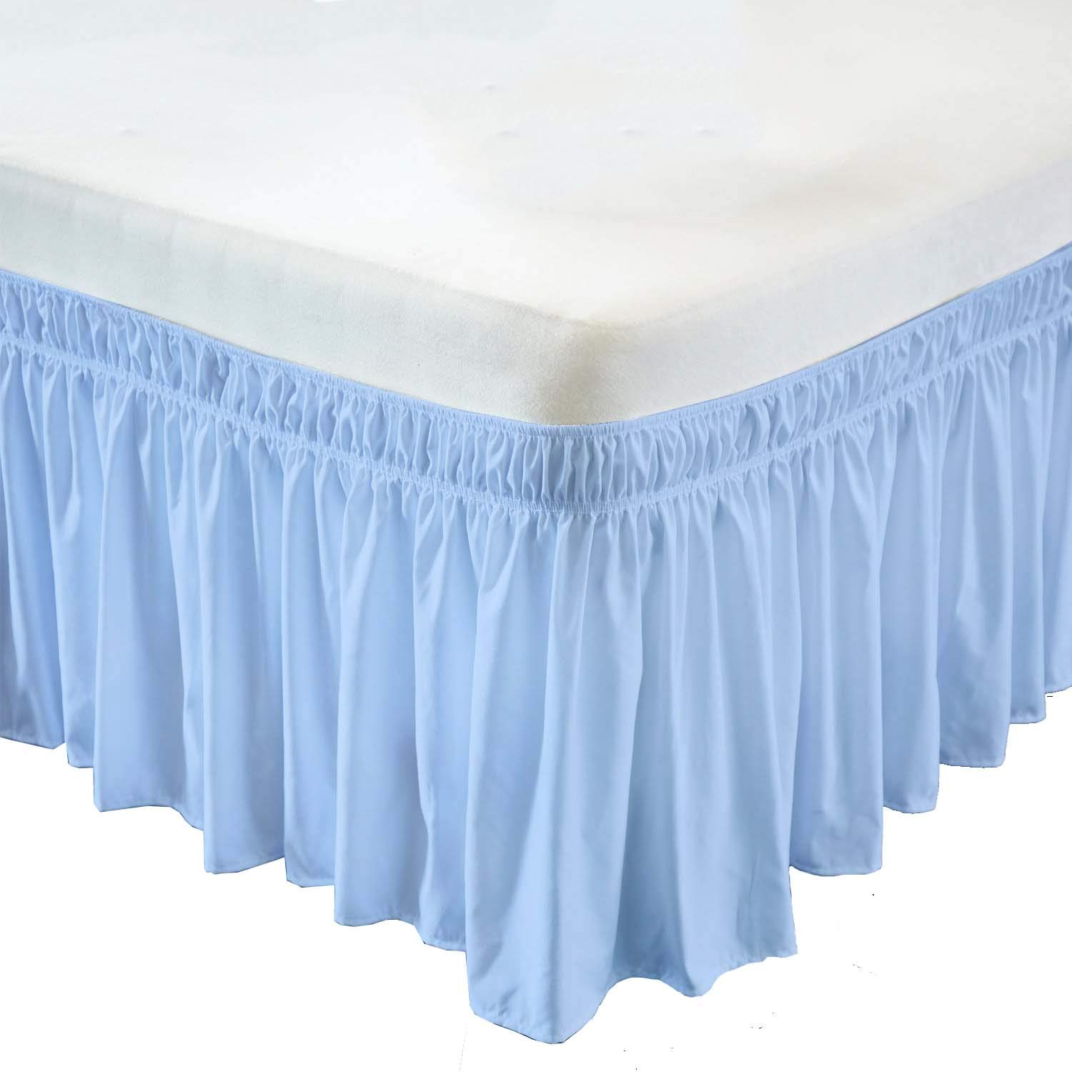 Wrap Around Bed Skirt- 12 Inch Drop Length Style Easy Fit Elastic Bed Ruffles Bed-Skirt Wrinkle Free Bed Skirt - Light Blue, Queen in All Bed Sizes and Colors