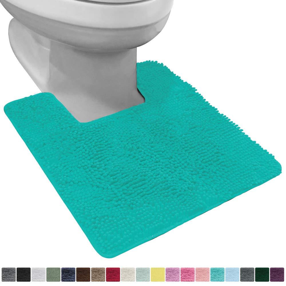 Gorilla Grip Original Shaggy Chenille Square U-Shape Contoured Mat for Base of Toilet, 22.5x19.5 Size, Machine Wash and Dry, Soft Plush Absorbent Contour Carpet Mats for Bathroom Toilets, Turquoise