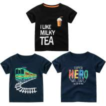 Happy Cherry Kids Toddler Boys Cotton Short Sleeve Tee Shirts Graphic Summer Tops Clothes 3 Pack