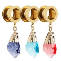 TBOSEN 2 PCS Dangle Gauges for Ears Stone Dangle Plugs and Tunnels Screw Strechers 2g - 1 inch