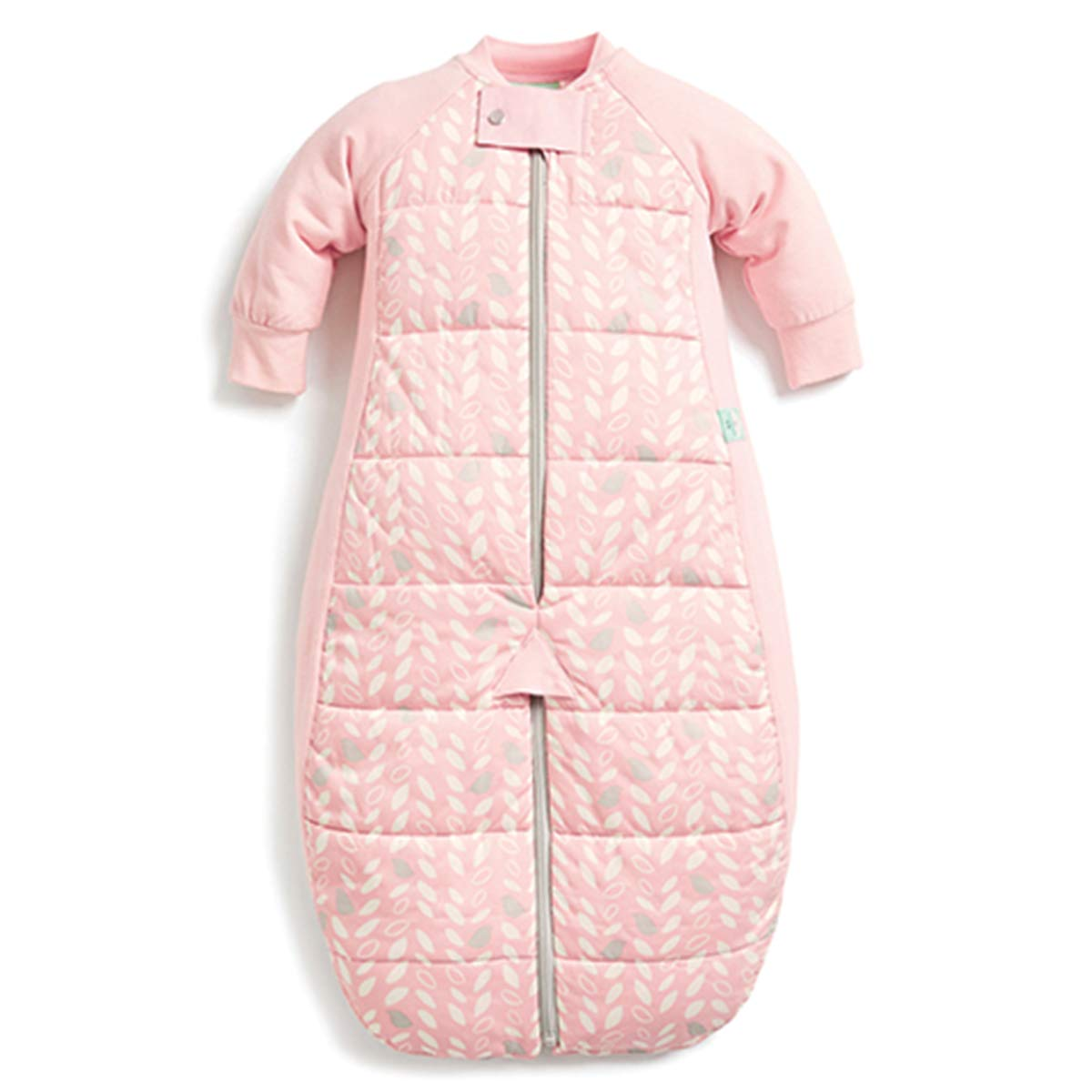 ergoPouch 3.5 TOG Sleep Suit Bag 100% organic cotton filling with cotton sleeves and fold over mitts. 2 in 1 wearable blanket sleeping bag converts to sleep suit with legs (Spring Leaves, 2-12 months)