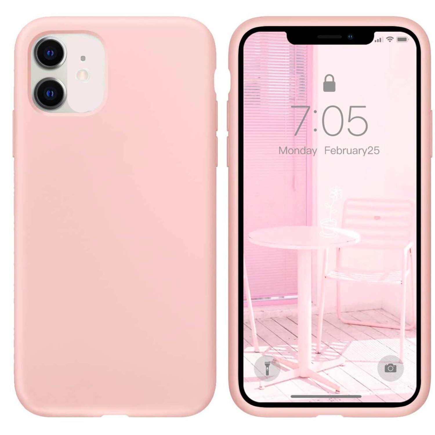 """IceSword iPhone 11 Case, Pink Sand iPhone 11 Silicone Case, Gel Rubber Full Body, iPhone 11 Cute iPhone 11 case, Soft Microfiber Cloth, 6.1"""" iPhone 11 case Silicone, iPhone 11 case Cute - Pink Sand"""