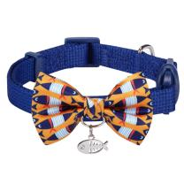 Blueberry Pet 18 Patterns Safety Breakaway Cat Collars w/Handmade Bow Tie and Cute Charm