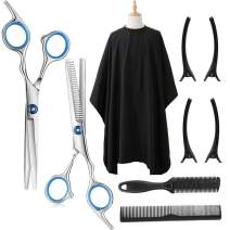 """Borogo Professional Salon Cape with Snap Closure, Hair Styling Cape Waterproof with Hair Cutting Scissors Thinning Shears Kit - 50"""" x 60"""""""
