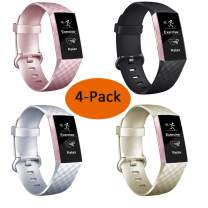 Molitececool Classic Bands for Fitbit Charge 4/ Fitbit Charge 3/Charge 3SE-4Pack Adjustable Sport Replacement Watch Strap for Men Women