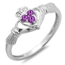 Dazzlingrock Collection Round Amethyst & White Diamond Ladies Bridal Love and Friendship Heart Shape Promise Ring, 10K Gold
